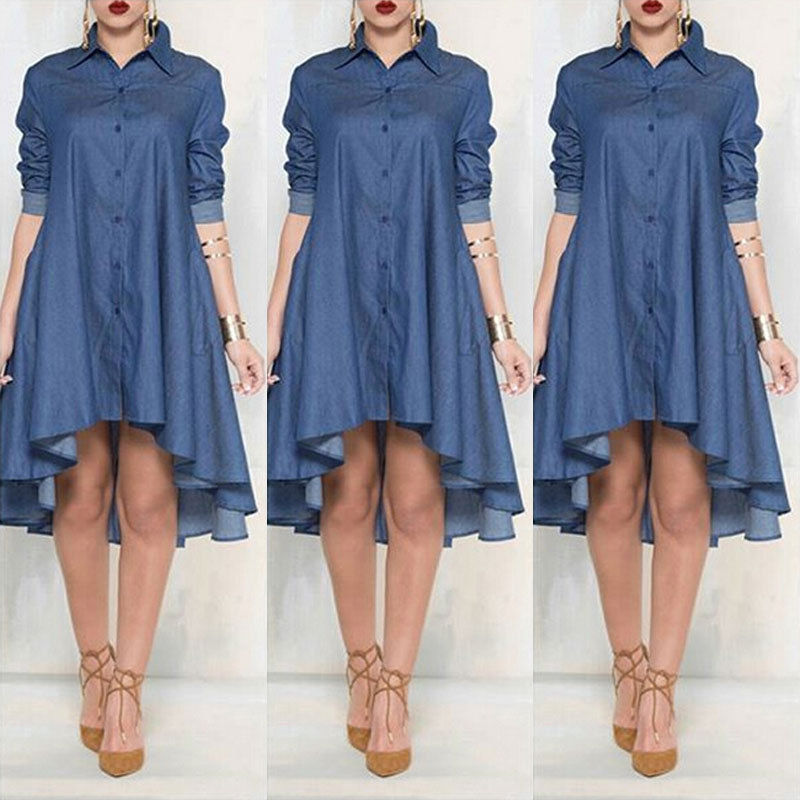 US $10.14 10% OFF|New Women Plus Size Jeans Dress Denim Loose Mini Dress  Irregular Long Sleeve Dresses Blue XL-in Dresses from Women\'s Clothing on  ...