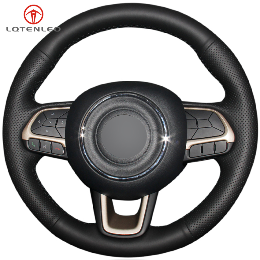 LQTENLEO Black Genuine Leather DIY Car Steering Wheel Cover For Jeep Compass 2017 2018 Renegade 2015
