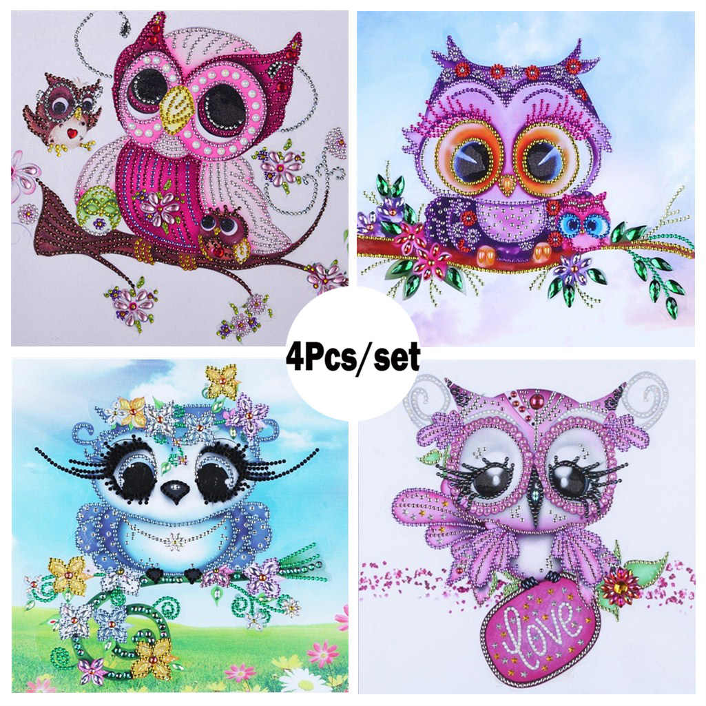 4Pcs Diamond Embroidery Owl Cute Animals Special Shaped Diamond Painting Rhinestone Needlework 5d Drill DIY Shining Crystal Kits