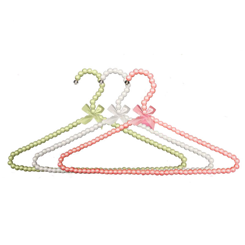 10 ks / Lot Barevný Fancy Pearl Bow-uzel Věšák na šaty, Non Slip Plastové Svatební šaty Košile Obleky Věšák na Lady Girl