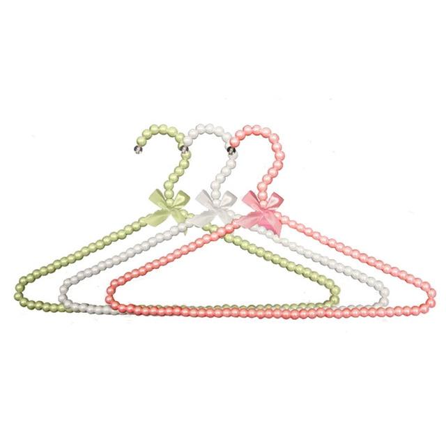 10 Pcs Lot Colorful Fancy Pearl Bow Knot Clothes Hanger Non Slip Plastic