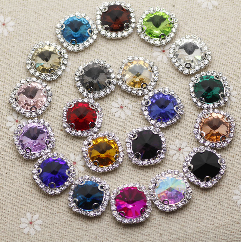 20pcs 10mm Crystal Mix Color Round Sew On Rhinestone With Claw Setting Silver Back With Metal Claw With Holes DIY garment stones in Rhinestones from Home Garden