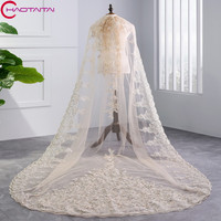Real Photos 2018 New Luxury White Gold Arabic Long Bridal Veil 2 Layers Gold Lace Edge Cathedral Wedding Veil With Comb