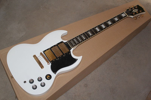 best guitar Three pickups LP custom SG white color square inlay Fret ...