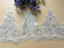 Delicate 9Yards Quality Alencon Corded Embroidered Sequins Fabric Bridal Lace Trim Wedding Dresses Bridal Gowns Veils Trim Y30