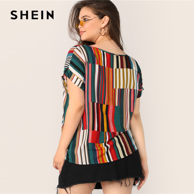 SHEIN Plus Size Multicolor Colorful Striped Top Blouse 2019 Women Summer Casual Short Sleeve Round Neck Big Size Blouses 1