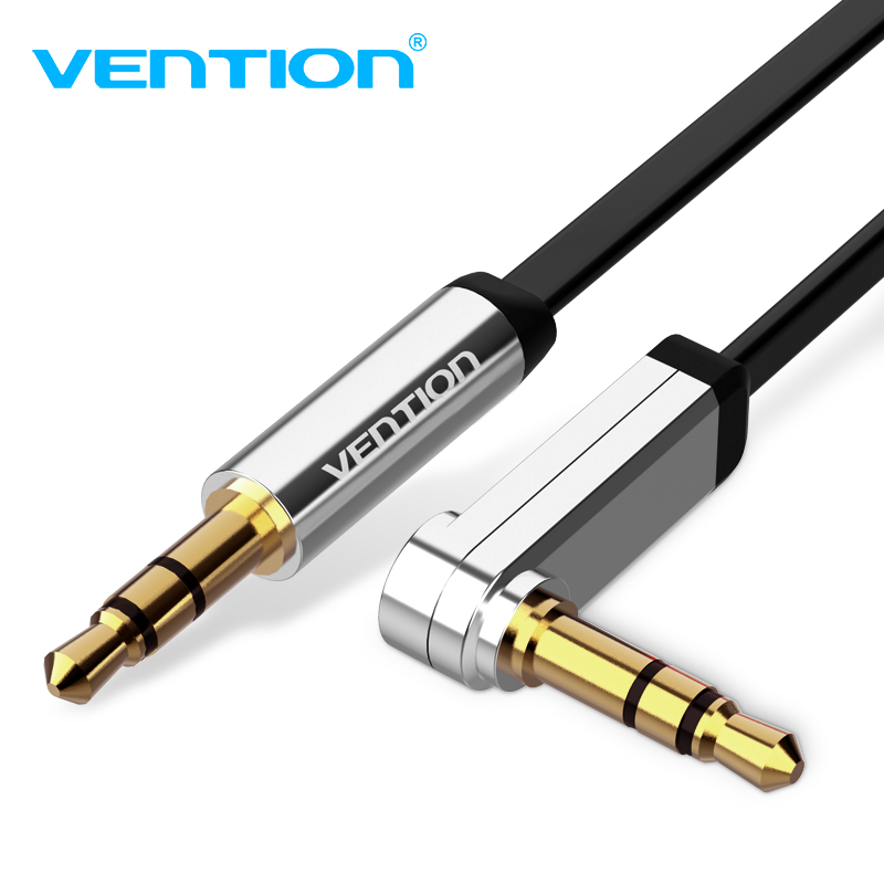 Vention 3.5mm Jack Audio Cable 3.5 Male to Male Cable Audio 90 Degree Right Angle AUX Cable for Car Headphone MP3/4 Aux Cord super speed v0169 fashionable silicone band men s quartz analog wrist watch blue 1 x lr626