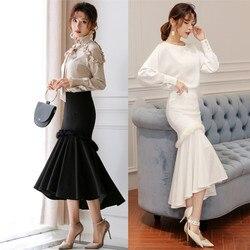 Бесплатная доставка, 2020, модная длинная юбка до середины икры для женщин, XS-3XL, стиль русалки, тянущаяся женская черная и белая юбка с высокой ...