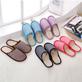 2017 New Men Women Indoor Floor Slippers stripe Warm Cotton Shoes Home House Slippers cheapest Winter Home Slippers LANSHITINA