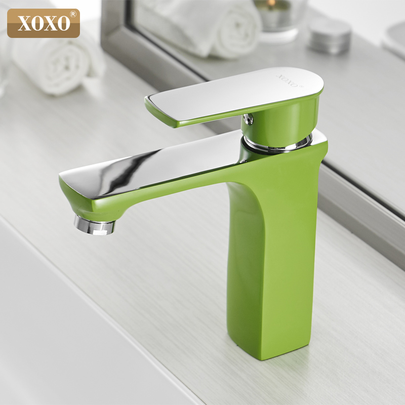 XOXO Basin Faucet Cold and Hot Green Water Taps  Orange White Fashion Style Bronze Single Hole Bathroom Mixer Faucet 20045      XOXO Basin Faucet Cold and Hot Green Water Taps  Orange White Fashion Style Bronze Single Hole Bathroom Mixer Faucet 20045