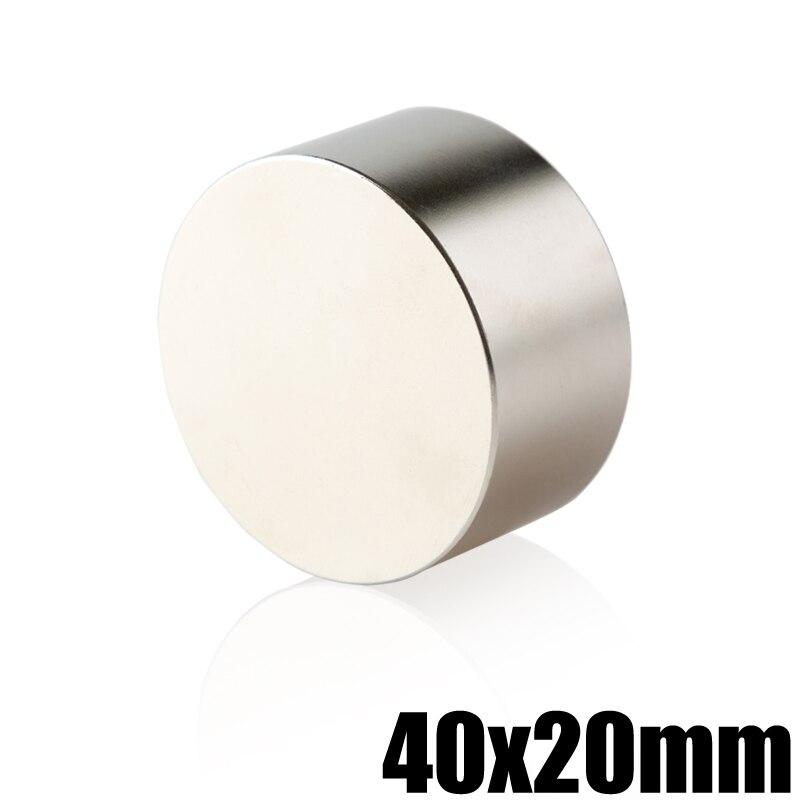 1 unidades N35 imán de neodimio 40x20 NdFeB permanente Super potente magnético redondo imanes de disco