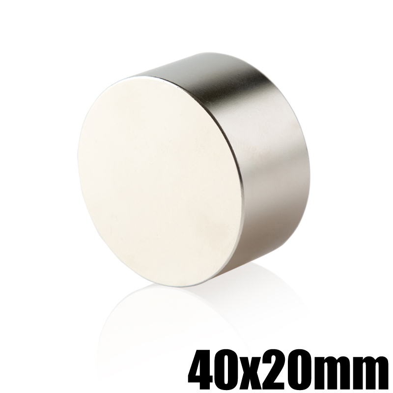 1 unidades N35 neodimio 40x20 NdFeB permanente potente fuerte estupendo redondo magnético imanes disco