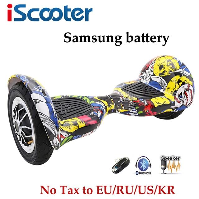 Iscooter 10 дюймов hoverbaord Samsung Аккумулятор Электрический балансируя Скутер для взрослых детей скейтборд 10 колес 700 Вт ХОВЕРБОРДА