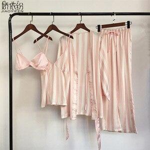 Image 2 - Pyjama set für frauen luxus satin nachtwäsche streifen komfortable hause tragen 4 stück pyjamas weste + bh + mantel + hosen seide nachtwäsche