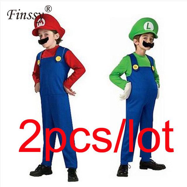 2 sztuk partia Super Mario Luigi brat kostium dla dzieci Halloween kostiumy śmieszne Party Dress dziewczyny Fantasia Cosplay kombinezon tanie tanio Finssy Chłopcy Spodnie Zestawy Poliester Anime Mario Cosplay Costume