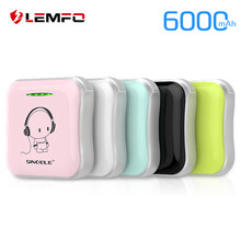 LEMFO Ultra-thin Cute Mini Power Bank 18650 Powerbank 6000Mah External Battery 2A Dual Fast Portable Charging For Iphone Xiaomi(China)