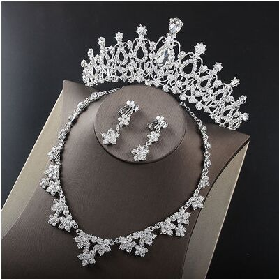 2017 New Silver Crystal Necklace Earrings for Women Wedding Jewelry Sets Whit K Plated Bridal Jewelry Sets With Tiaras & Crowns (12)