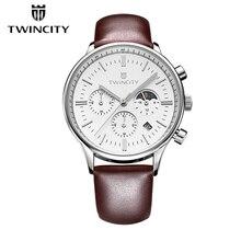 Twincity Chronographe Sport Hommes Montre Militaire Calendrier Véritable En Cuir Quartz Montres Hommes à Six broches Montre-Bracelet De Mode Montres