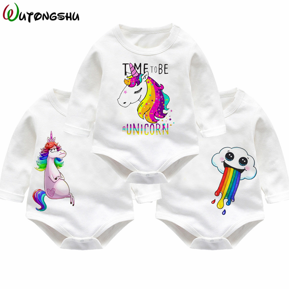 7c43d1f5c43a Unicorn Baby Clothing Sets White Print Newborn Children Rompers For ...