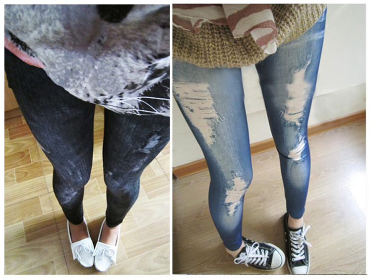 Women  Leggings Girls Fashion New Stylish Gray Faux Jean Denim Like Women Stretchy Skinny Leggings Pants