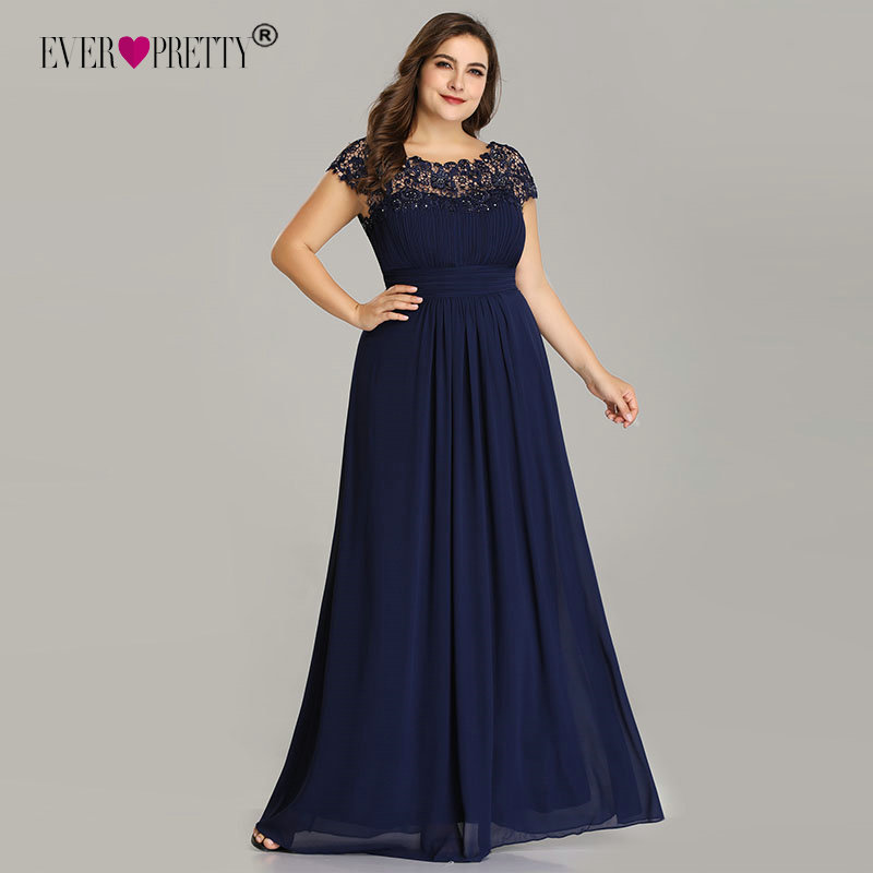 Long Prom Dresses Ever Pretty EP09993 2020 Dark Green Plus Size Lace Appliques O-Neck A-Line Navy Blue Ladies Formal Party Dress