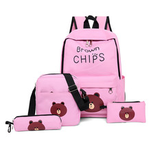 4Pcs Cute Brown Bear Printing Backpack Women Bookbags For Teenagers Girls School Backpack Set Women Canvas Backpack School Bags цены