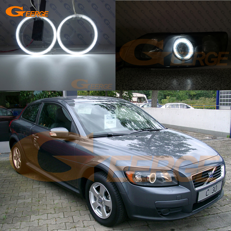 For Volvo C30 2007 2008 2009 2010 projector lens Excellent angel eyes Ultra bright illumination CCFL Angel Eyes kit Halo Ring