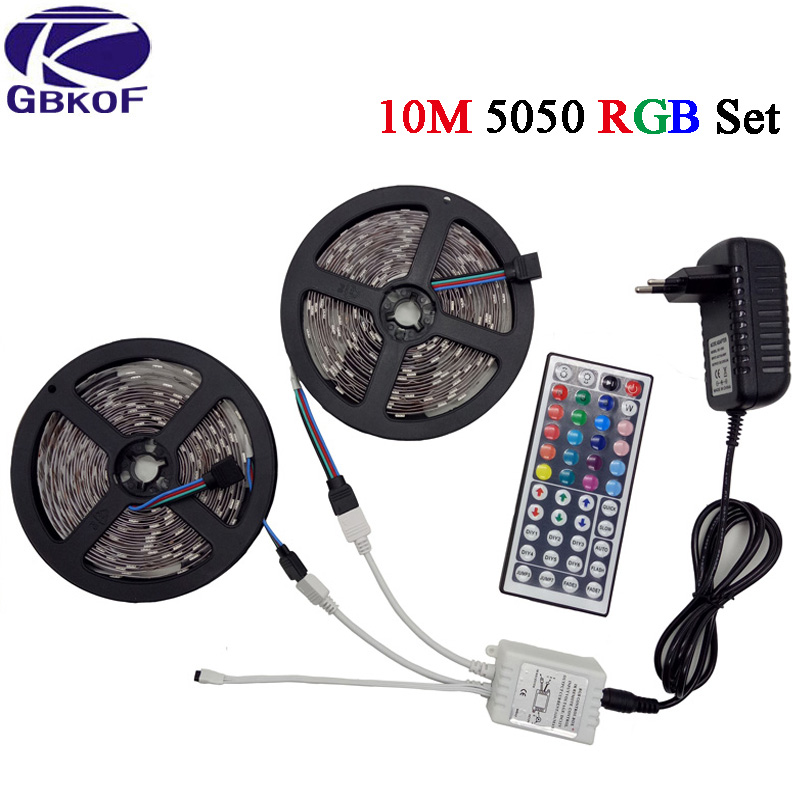 RGB LED Strip Waterproof/Non-wateroof strip SMD5050/3528 5/10M led Tape RGB Led Light diode ribbon with Controller+DC12V adapter