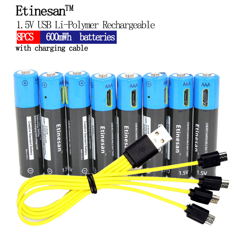 NEW battery! 8pcs/lot Etinesan 1.5V AAA 600mWh Li-polymer Li-ion Lithium Rechargeable Battery With USB Charging Cable solar charger special single section li ion battery charging board lithium polymer battery