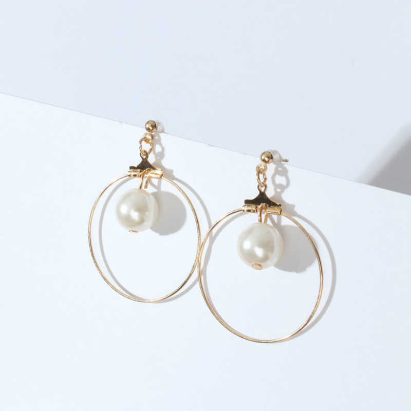 New Earrings Simple Geometric Circle Triangle Square Simulation Pearl Earrings Fashion Jewelry Earrings For Women Wholesale