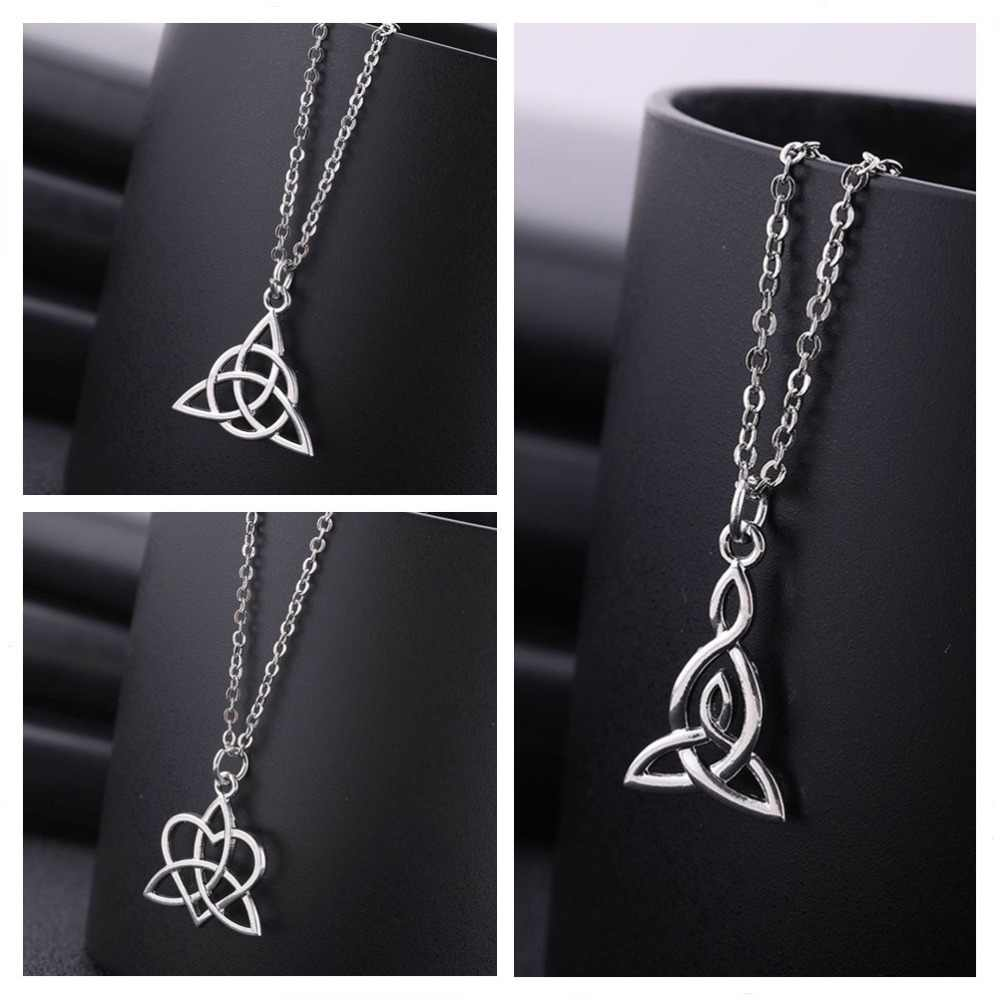 Skyrim Vintage Celtics Knot Art Viking Pendant Necklace Sliver Chain Necklace Long Link Chain for Women Man Jewelry Making Gift