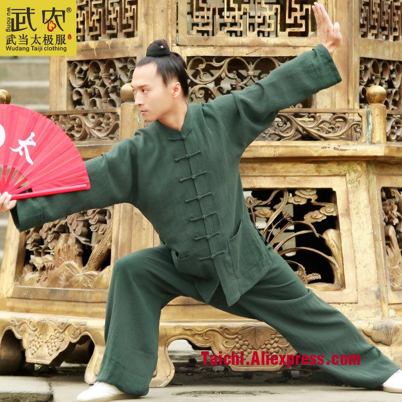 Wudang  Male Handmade  Linen Tai Chi Uniform Wushu Kung Fu Shaolin Training Suit  Chinese Stly  Jacket+pants