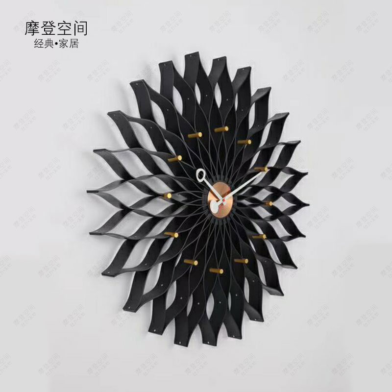 2018New Arrival  Nordic Style Nelson Sunflower Wall Clock/Silence Wooden Clock DIA75cm 3 Color To Be Choose
