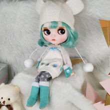 Blyth 1/6 BJD Doll Joint Body With Big Eyes , Green Color Hair  And White Skin 30cm Doll Toys For DIY Hot Girl Birthday Gift toy gift neo blyth nude doll factory blyth grey mix pink hair centre parting big breast joint body 1 6 30cm doll 280bl1010 9016