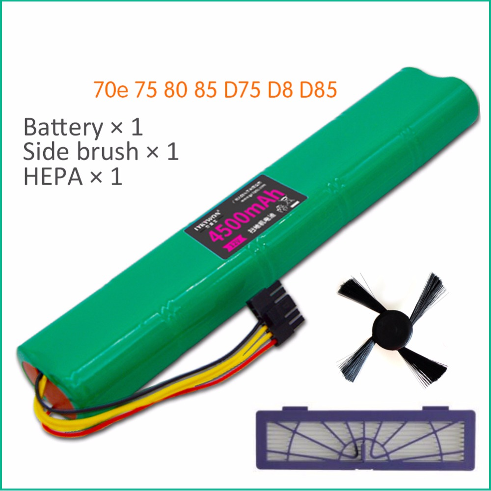 3pcs HEPA Filter+side brush+ Battery 4500mAh 12V Ni-MH Cleaner Battery for Neato BotVac 70e 75 80 85 D75 D85 Vacuum Cleaners combo roller brush 1 hepa filter 5 for neato botvac 70e 75 80 85 robot vacuum cleaner parts replacement kit filter brush