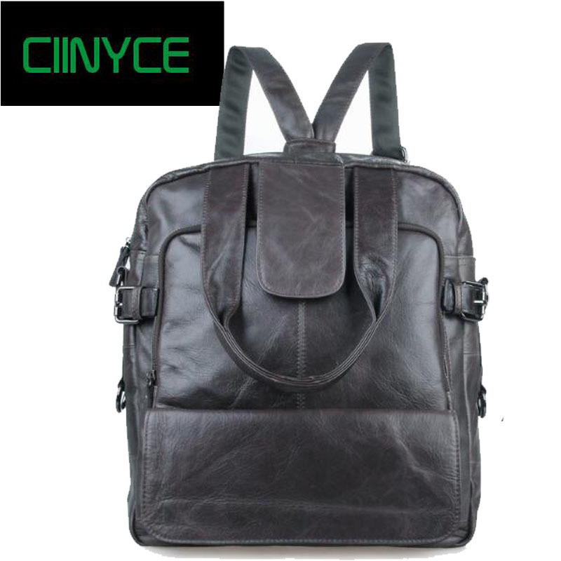 Vintage Male Soft Cow Skin Back pack Original Wax Oil Cowhide Genuine Leather Men's Totes Shoulder Bag Casual Laptop Backpacks men s black soft cowhide back pack multifunctional genuine cow leather12 9 inches laptop rucksack male schooltravel shoulder bag