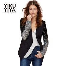 YIKUYIYA 2017 Casual Sliver Sequin Women Blazer Solid Black PU Patchwork Female One Button Slim The Office Ladies Blazers