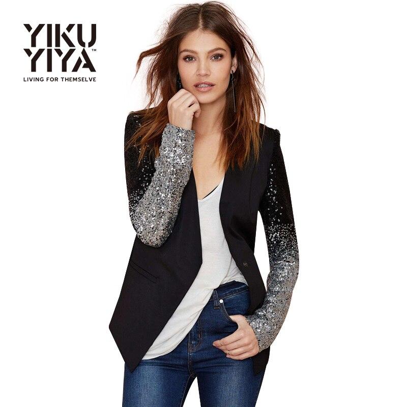 Yikuyiya 2017 повседневная щепка блесток женщины blazer твердые черный pu лоскутное блейзер женский one button тонкий офис дамы блейзеры