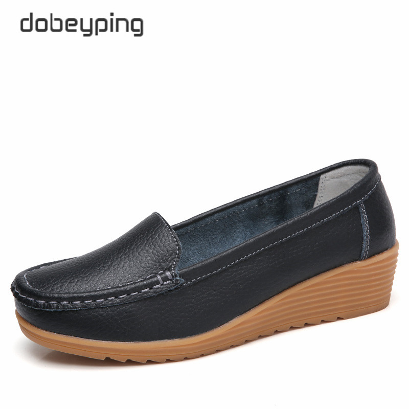 dobeyping Genuine Leather Women's Loafers Moccasins Woman Flats Casual Mother Shoes Non Slip Pregnant Women Shoe Soft Footwear(China)