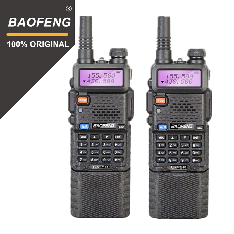 2 pcs Baofeng UV-5R 3800 mah Talkie-walkie Longue Portée 10 km Double Bande UHF et VHF UV5R Émetteur-Récepteur Portatif station de Radio Woki Toki