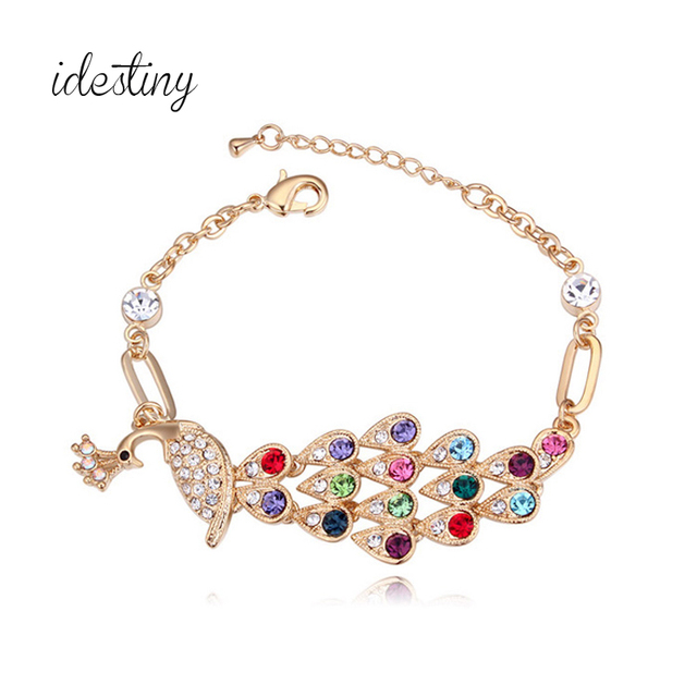 Fashion Pea Shape Design Jewelery For Women Champagne Gold Color Italian Charm Bracelet Brands Made With