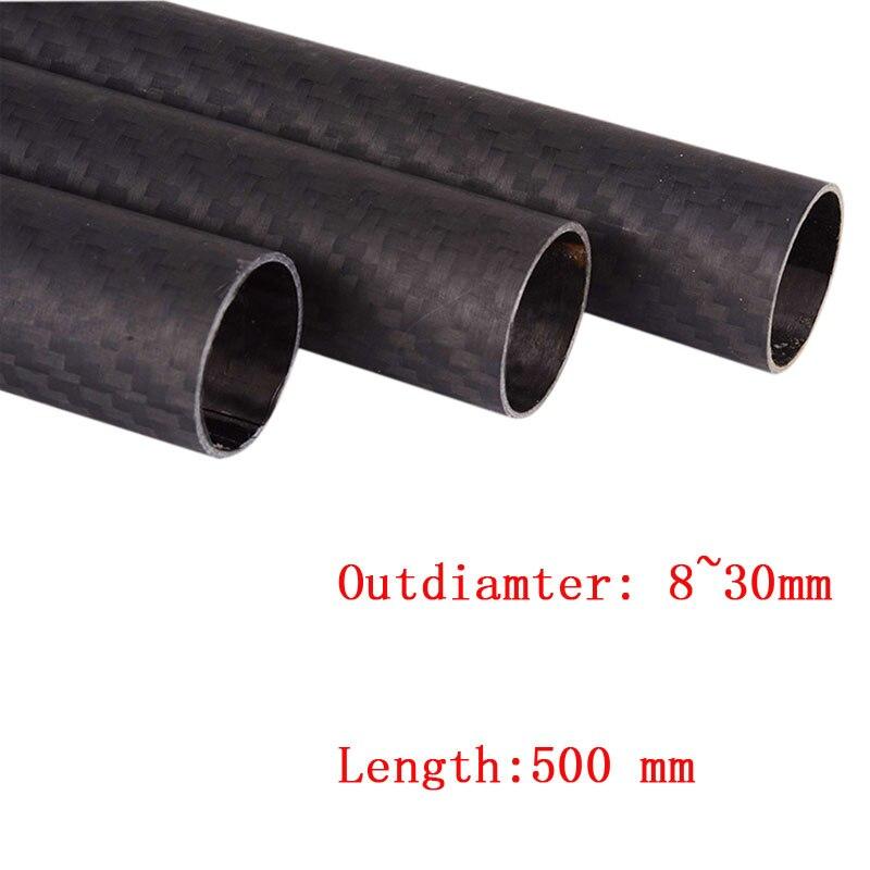 1pcs 3K Carbon Fiber tube pipe Length 500mm 22mm OD*ID 8*6 8*10 12*10 16*14 20*18 22*20 25*23 30*28*500mm Matte for RC diy part