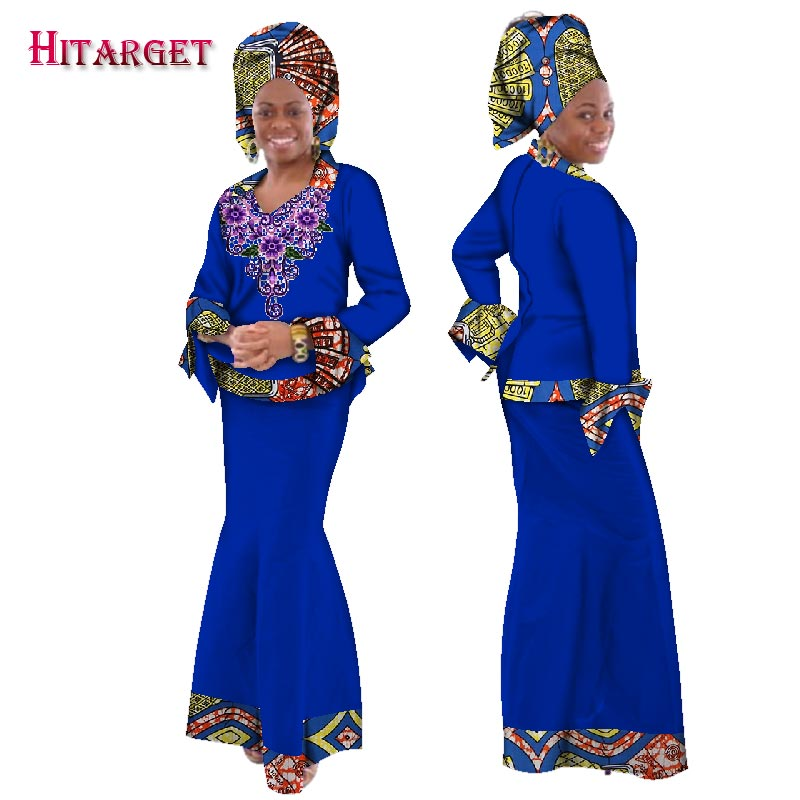 Traditional Women African Splice Embroidery Tops and Skirt Sets with Head Scarf Clothing African Bazin Dresses for Women WY165