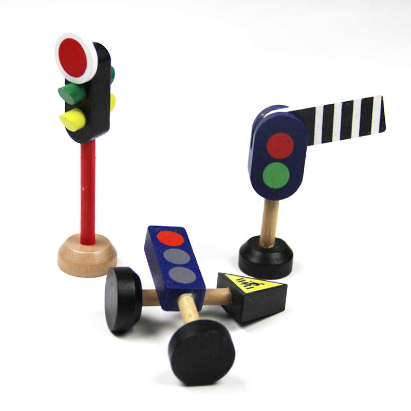 wooden traffic light traffic light road sign street sign solid wooden drag mas small train track scene accessories toy