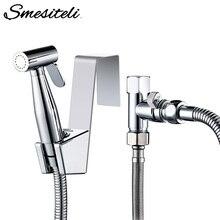"""Smesiteli tuvalet bide püskürtme seti paslanmaz çelik banyo krom bide duş püskürtücü 1/2 """"veya 7/8"""" göre kolay kurulum"""