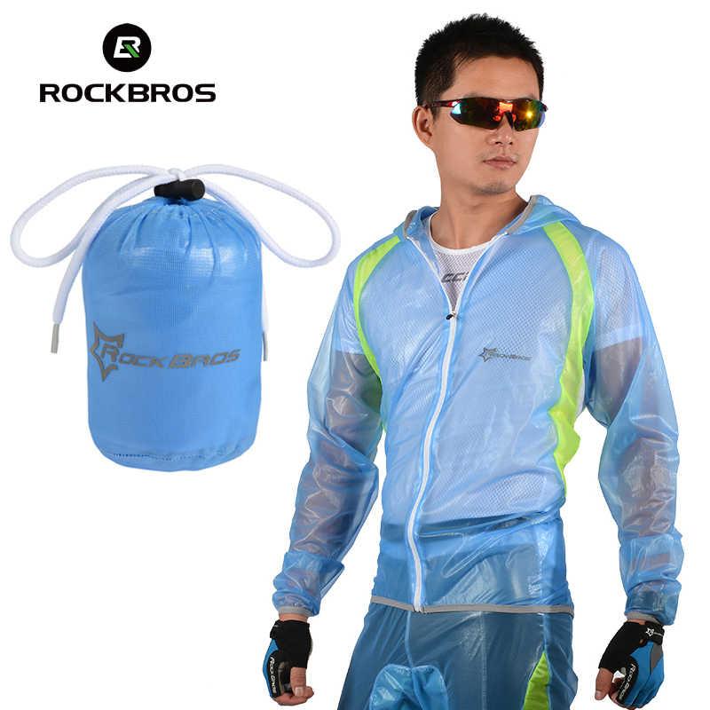 ROCKBROS Yg Tahan Hujan Bersepeda Jaket Jas Hujan dengan HOOD Pria Tahan Air Sepeda Jas Hujan Olahraga Outdoor Portable Angin Jas Hujan