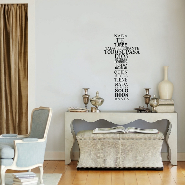Spanish Quote Wall Sticker Christian Cross Vinyl Wall Decal Art Religious Poster For Home Living Room Church Decoration In Wall Stickers From Home