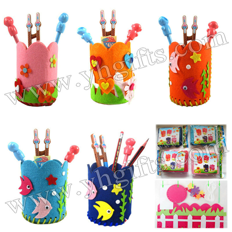 15pcs lot diy felt pen holder craft kits fabric pencil bag for Diy handicraft items