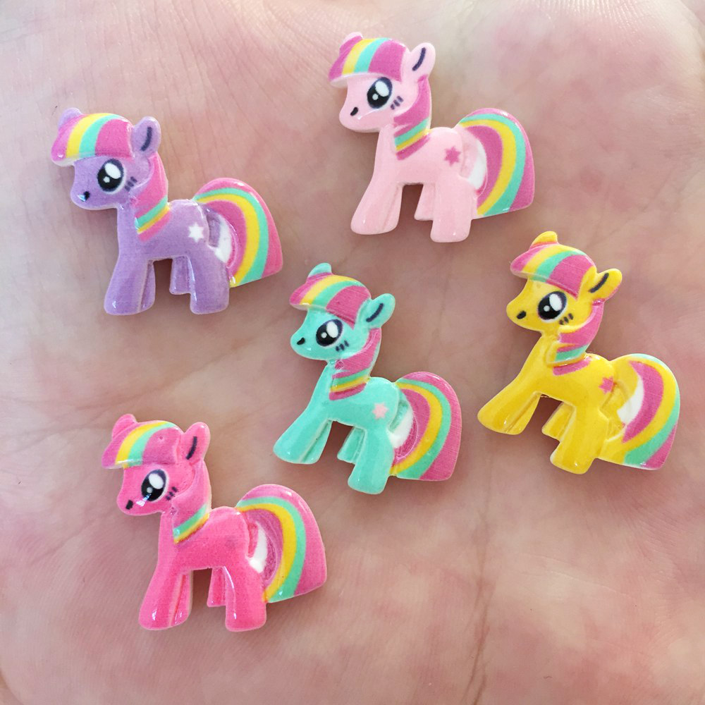 Resin Cute 3D Colorful Unicorn Flat Back Stone Appliques  Home Decor Crafts 10pcs DIY Wedding Scrapbook OW09