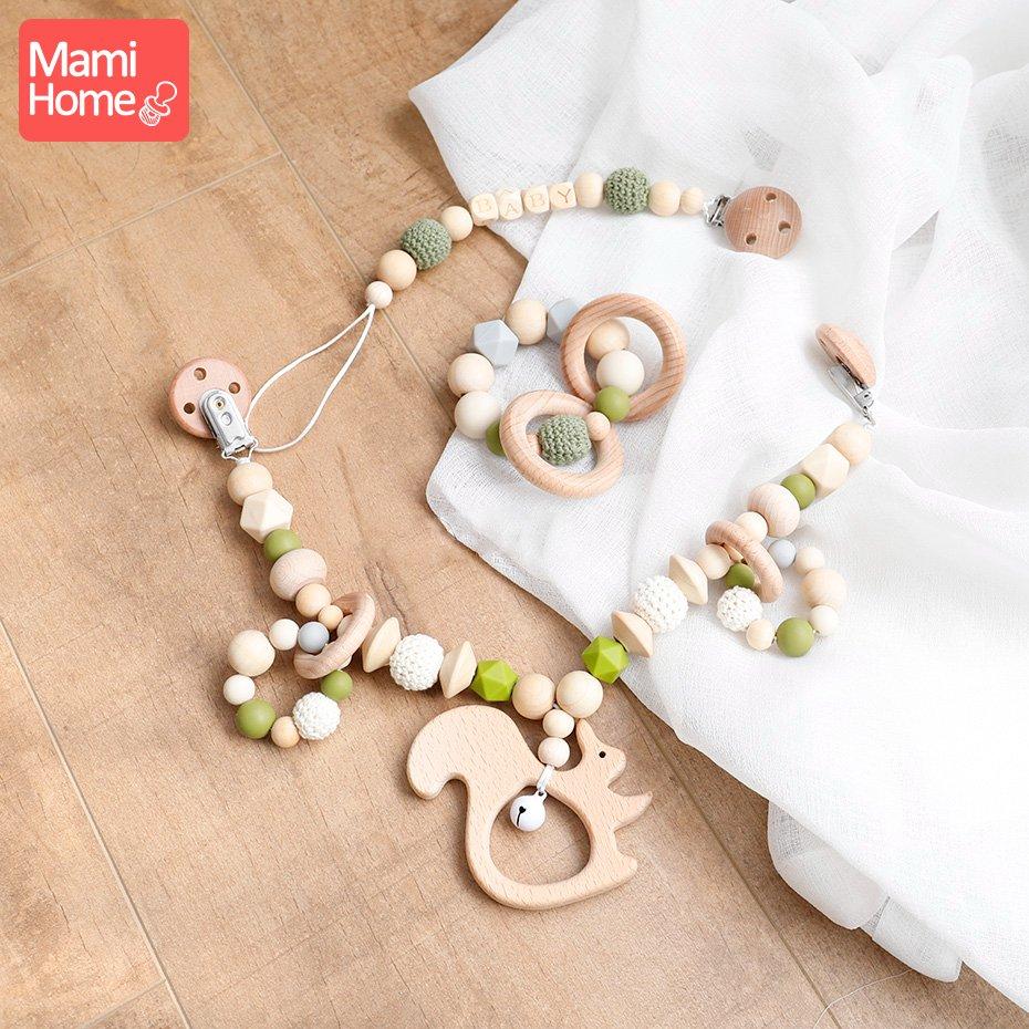 Mamihome 1 zestaw drewniane gryzak silikonowe koraliki dzwonek dla dzieci wózek łańcuch szydełka koraliki smoczek klip noworodka prezenty dla dzieci ząbkowanie